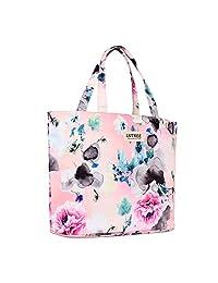 Lvtree Tote Shoulder Bag Handbag, Foldable Wallets Purse Bag for Outdoors Gym Hiking Picnic Travel Beach, Wash Painting Pink Penoy