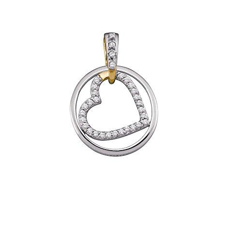 10k Gold Circle Heart Pendant - Roy Rose Jewelry 10K Two-tone Gold Ladies Diamond Circle & Nested Heart Love Pendant 1/5 Carat tw