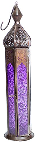 Insideretail Moroccan Style Lantern With A Copper Antique Finish And Purple Glass  7 By 7 By 30Cm  Set Of 2