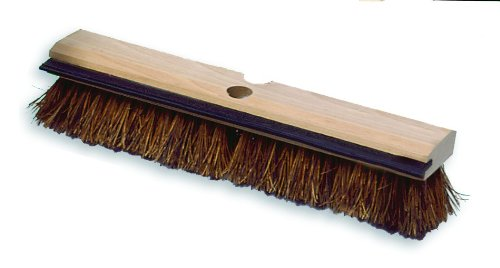Deck Fiber Palmyra Brush - Rubbermaid Commercial Wood Block Deck Brush with Squeegee and Hole for Threaded or TapeRed Handle, Palmyra Fill, 2-Inch Trim Length, 14-Inch Length, Brown (FG9B3500BRN)