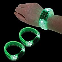 12 PC LED Light Up Sound Activated Bangle Bracelets Wristbands - Various Colors by Mammoth Sales (Green)