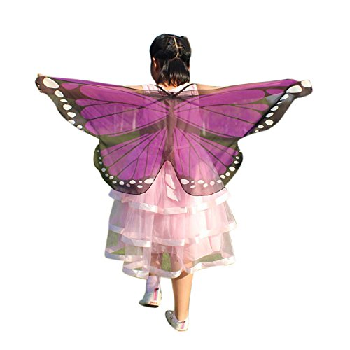 Child Kids Butterfly Wings Girls Bohemian Butterfly Print Shawl Unisex Children Pashmina Costume Accessory ICODOD(Purple) for $<!--$0.32-->