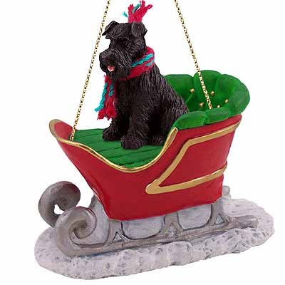 Schnauzer Sleigh Ride Christmas Ornament Black Uncropped - DELIGHTFUL!