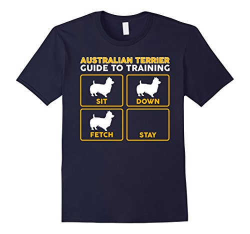 Mens Australian Terrier T-Shirt | Funny Guide To Training XL Navy