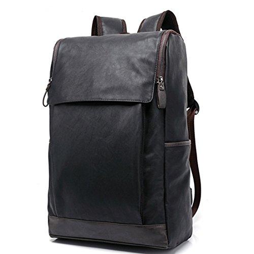 Daypacks, iTECHOR Preppy Style Männer PU Leder Rucksack Schultasche Im Freien Travel Bag - Schwarz