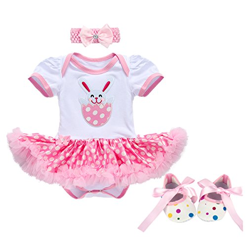 FYMNSI Baby Girls My 1st/2nd Easter Costume Outfits Bunny Bodysuit Romper Tutu Dress Headband Shoes 12-18M]()