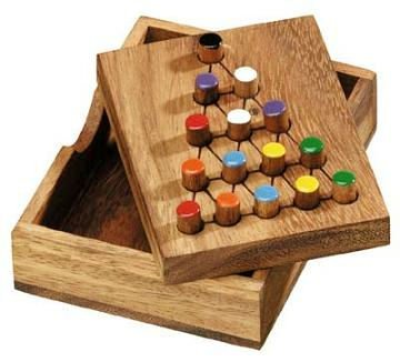 Winshare Puzzles and Games Last Fighter Jump Peg Puzzle Game Wooden Solitaire Brain Teaser ()