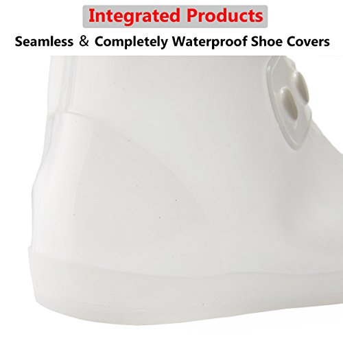 USHTH Waterproof Rain Boot Shoe Cover The Reusable Slip-Resistant Overshoes with Excellent Elasticity and Foldable (White-L) by USHTH (Image #2)
