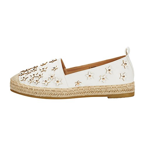 JENN ARDOR Womens Espadrilles Ladies Flat Shoes Fabric Loafers Slip-On Comfortable Espadrilles Shoes White gkvnQt94P