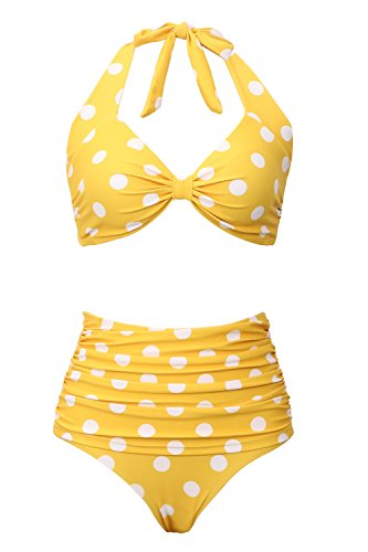 Bathing Suit High-Waist Two-Pieces Swimsuits for Women Bikini Swimwear Vintage Dots Printing Yellow