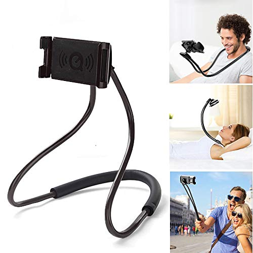 Neck Phone (ZOEAST(TM) Hands Free Universal Cell Phone Neck Holder Stand Lazy Bracket DIY Free Rotating Mounts with Multiple Function Compatible All Phones Pad Tablet (Black))