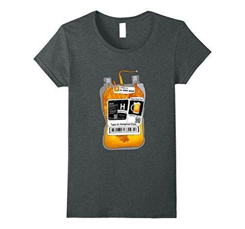 Womens Halloween Bloodbag, Blood Type H, Beer Hangover Cure T-Shirt XL Dark Heather (Halloween Hangover Funny)