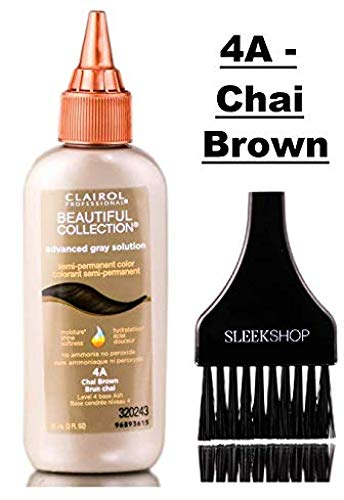 Clairol BEAUTIFUL COLLECTION Advanced Gray Solutions SEMI-PERMANENT Hair Color (w/Sleek Tint Brush) No Ammonia No Peroxide Haircolor Moisture Shine Grey DYE (4A - Chai Brown) (Best Solution For Grey Hair)