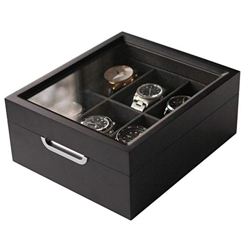 Watch Box Modern 2×3 Black Finish with Custom Aluminum Handle 6-Slot with Real Glass