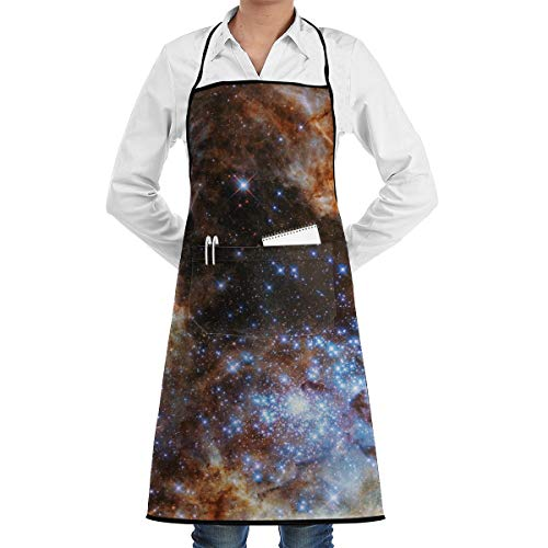 Galaxy Bib Apron with 2 Pockets and Long Tie, Resistant to Droplets Kitchen Aprons for Women and Men]()