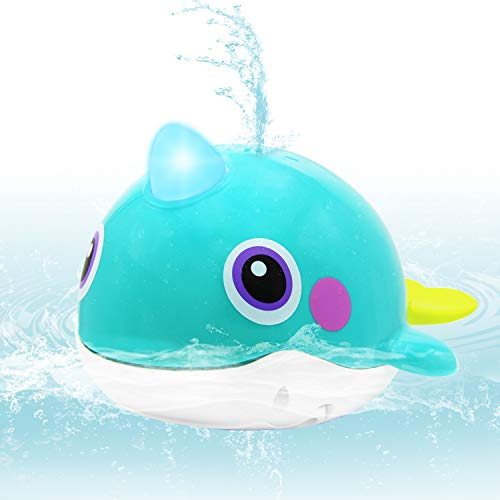 VATOS Baby Bath Toy Whale Bathtime Squirt Toys Bathing Toy Sprinkler Swimming Tub Floating Water Spray Bathtub Toys Waterproof Bathing Tub Pool Toys for Babies Kids Toodlers Plastics Spouting Whale