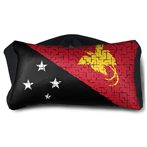 SUNNMOON Papua New Guinea Flag Puzzle Neck Travel Pillow Support Scarf Voyage for Airplane Eye Mask, Travel Pillow and Eye Mask Washable Pillows