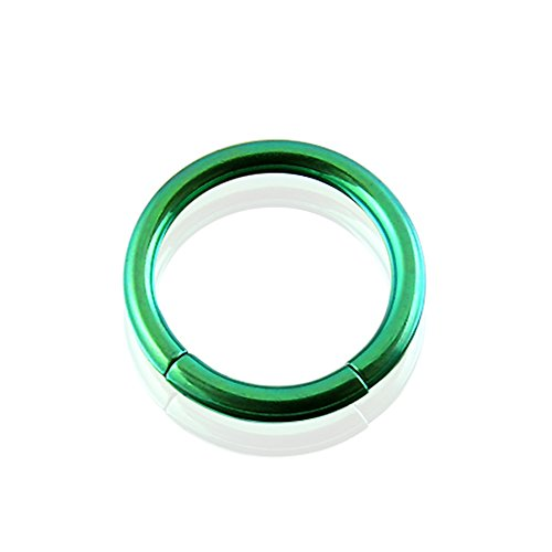 Curved Barbells 10MM - 16G(1.2MM) Green Anodised Grade 23 Solid Titanium Segment Rings.