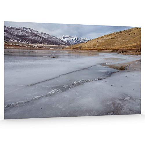 Utah Nature Photography 24x36 Inch Unframed Nature Poster Print Winter Ice Forming on Lake