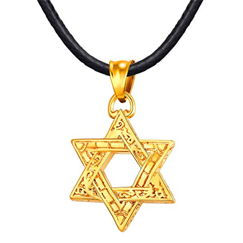 U7 Men Star of David Necklace 18K Gold Plated Jewish Jewelry with 2mm Black Leather Chain 22 Inch