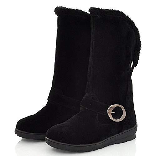 Warm Femmes Noir Boots Snow Winter Coolcept Toe Mid Round Calf URwxw5qTF