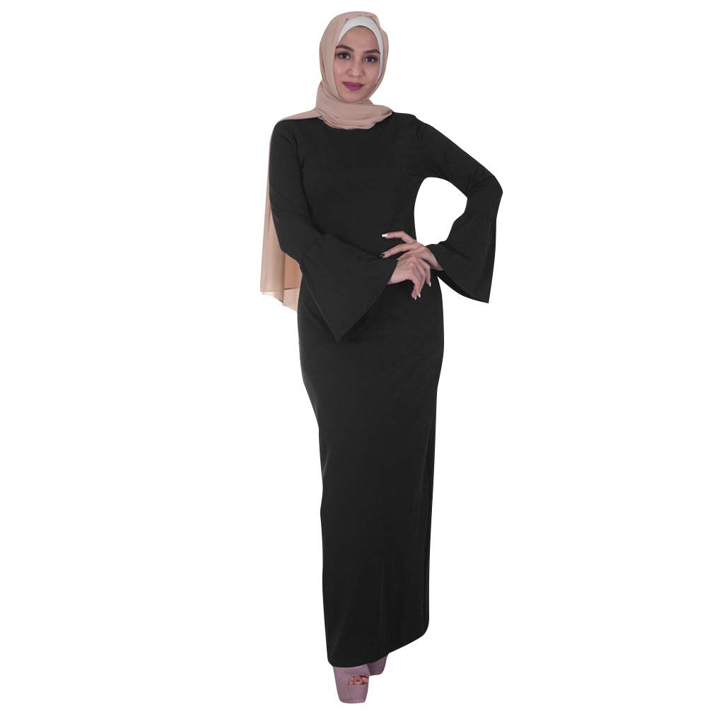 Muslim Women Modest Maxi Dress,Abaya Turkey Elegant Long Robe Kaftan Clothes Basic Solid Trumpet Sleeve O-neck Long Dress (L, Black) by PaJau
