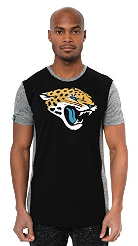 NFL Jacksonville Jaguars Men's Color Block Team Logo Short Sleeve T-Shirt Top, Black, Medium