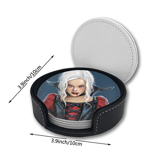 Vampire Queen Girl Art Halloween Pu Leather Car Coasters Girls Boy Kids Round Holder Gift Beer Table Desk Mug Office Printed of 6 Pc Set Decor Ornament Home Mats Placemats -