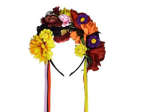 (DreamLily Frida Kahlo Mexican Flower Crown Headband Halloween Party Costume Dia de Los Muertos Headpiece NC25 (A-Rose Skull)