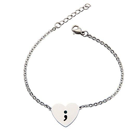 KUIYAI Heart Semicolon Bracelet with Black Hand Stamped Symbol (Stainless Steel (Heart Health Awareness Bracelet)