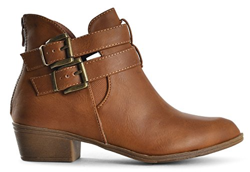 LUSTHAVE Boots Heel Ankle Bootie Stacked Parker Tan Buckle Chunky 5 Womens Straps by Low pxqrwvpY
