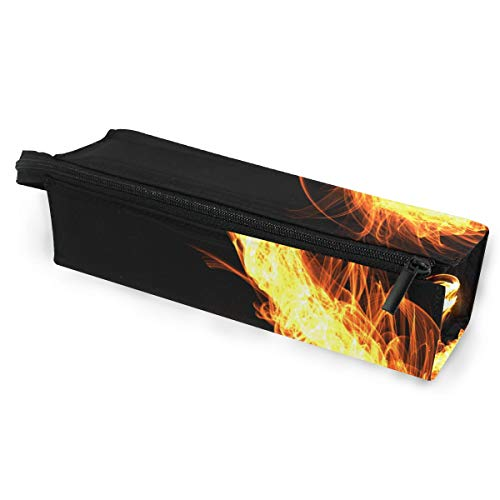 (Glasses Case Chinese Fire Dragon Black Multi-Function Zippered Pencil Box Makeup Cosmetic Bag for Women/Men)