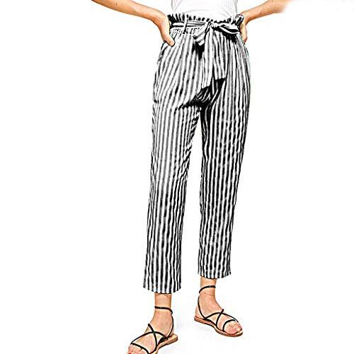 - LENXH Women's High Waist Pants Striped Printed Pants Strap Casual Trousers Fashion Sweatpants Gray
