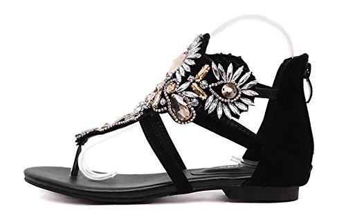 Covered Shoes Heels Back Flop Flat Split Toe Aisun Stylish Womens Thong Sandals Black Zipper Flip Rhinestones Beaded IXwnZxpqHR