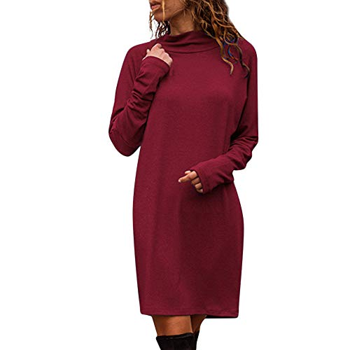 Turtleneck Cotton Interlock Print (COPPEN Women Mini Dress Solid Long Sleeve Round Crew Neck Sweatshirt)
