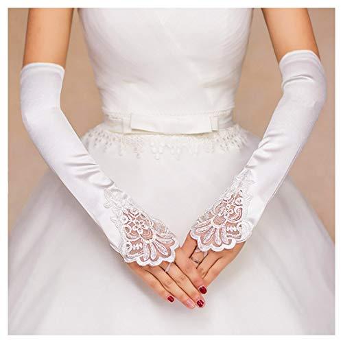Barode Wedding Glove Lace Flower Fingerless Beaded Gloves for Women and Girls (White)