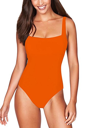 (Pink Queen Women's Classic Square Neck Strap Pad One-Piece Swimsuit Monokini (XL, Orange))