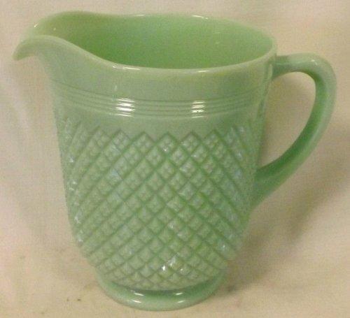 Jade Green Milk Glass Pitcher Miss America - Milk Patterns Glass Westmoreland