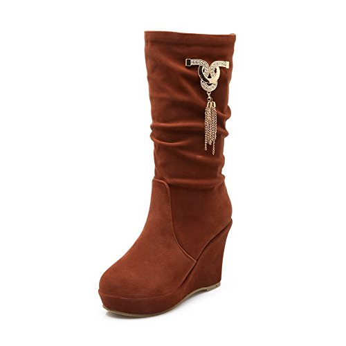 Allhqfashion Women's Frosted Pull-On Round Closed Toe High-Heels Mid-Top Boots Brown wRJX8rgT