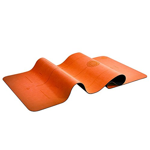 Ugo Microfiber + Natural Rubber 5MM Yoga Fitness Exercise MAT with Body Lines (Free Carry Strap) - Orange