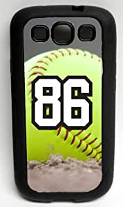 Softball Sports Fan Player Number 86 Decorative Black Rubber Samsung Galaxy S3 Case