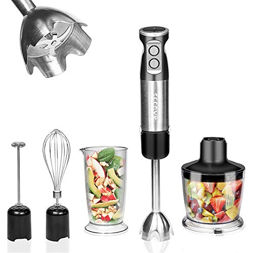 Soonye Immersion Hand Blender, Multifunctional 5-in-1 304 Stainless Stick Blender With 500ml Food Grinder, 600ml Container, Milk Frother, Egg Whisk, BPA-Free, black