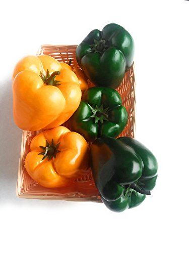 Mezly 6pcs artificial simulation fake bell pepper capsicum artificial vegetable photo props home decoration (Yellow and Green) by Mezly