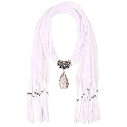 LERDU Gift Idea Indian Pear Shaped Stone Pendant White Scarf Necklace Soft Jersey Infinity Scarf Tassel Jewelry for Women