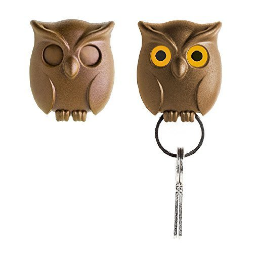 Night Owl Keyring Holder by Qualy Design Studio. Brown Color. Cool Home Decor. Unusual Wall Decoration. Unique Gift. (Whiteboard Wall Mount Kit)