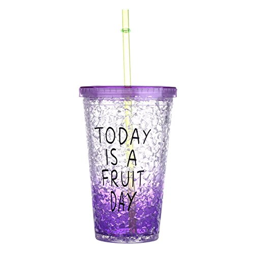 Purpke Portable Sports Travel Plastic Fruit Juice Water Lemon Bottle Cup With Lip Straw by Travel Mugs