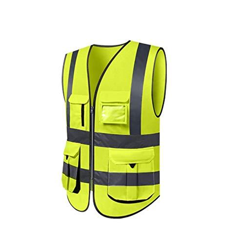 Vest Shooting Cloth (FS Reflective Vest, Sanitation Worker Clothes Traffic Fluorescent Suit Vest Reflective Clothing (Color : Fluorescent yellow, Size : L))