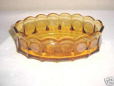 - Amber Fostoria Coin Glass Oval Bowl