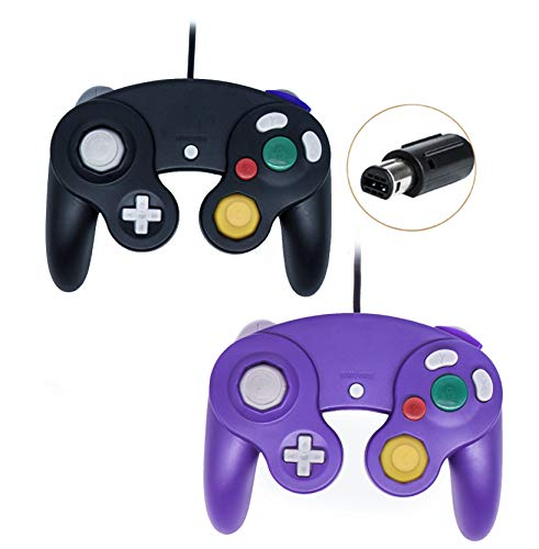 Gamecube Controller, Wired Gamepad for Nintendo Wii Console (Black and Purple)