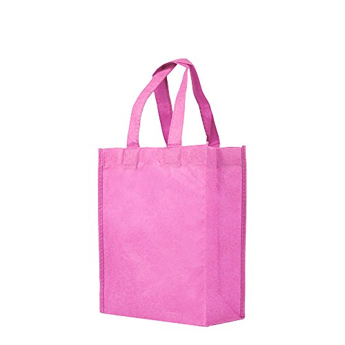 Reusable Gift / Party / Lunch Tote Bags - 25 Pack - Pink (Silkscreen Pink)